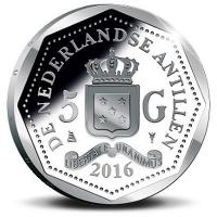 Ned. Antillen 5 Gulden 2016 Proof