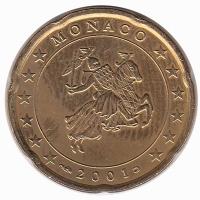 Monaco 20 Cent 2001 Unc