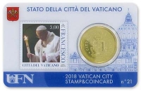 Vaticaan Coincard nr. 18 t/m 21 2018 met zegel